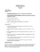 Village Board Agenda: May 1, 2018